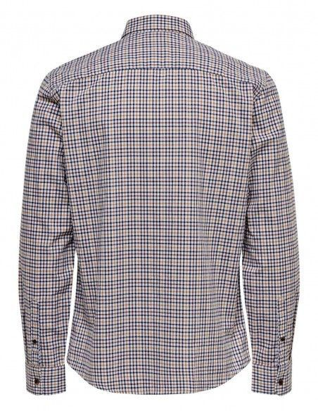 Camisa cuadros Orik Only and Sons blanca trasera